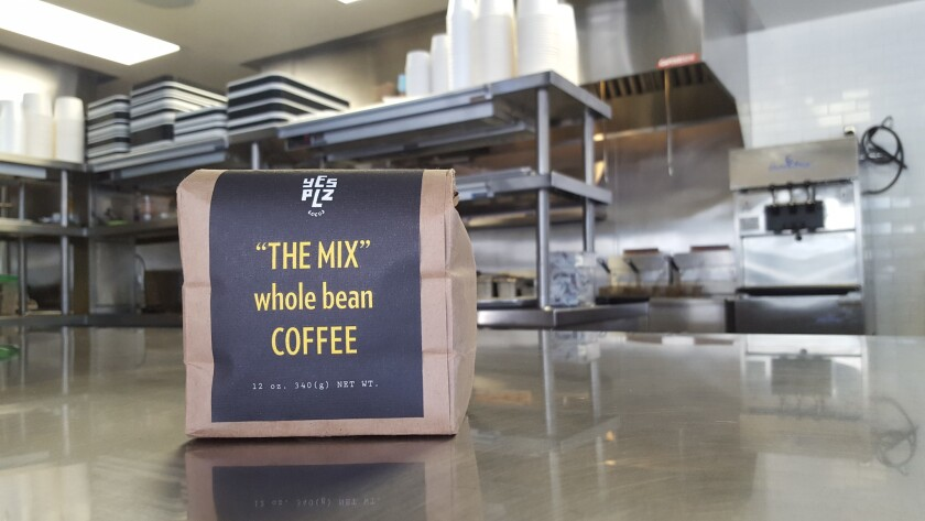 A bag of Yes Plz coffee, which costs $8 or $9.