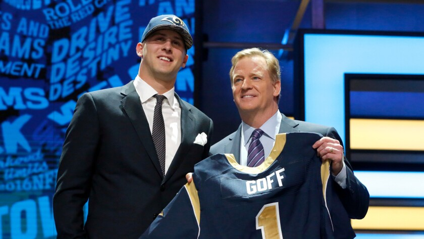 Quarterback Jared Goff of Cal, left, poses with NFL Commissioner Roger Goodell last month after the L.A. Rams made him the top pick in the 2016 draft.