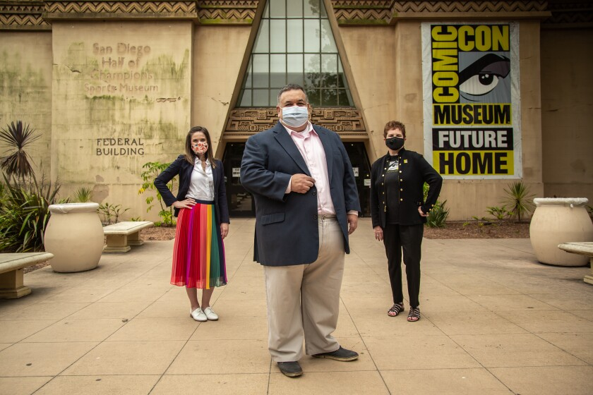Comic-Con Museum organizers, Melissa Peterman, David Glazner and Patti Roscoe in front of the Comic-Con Museum.