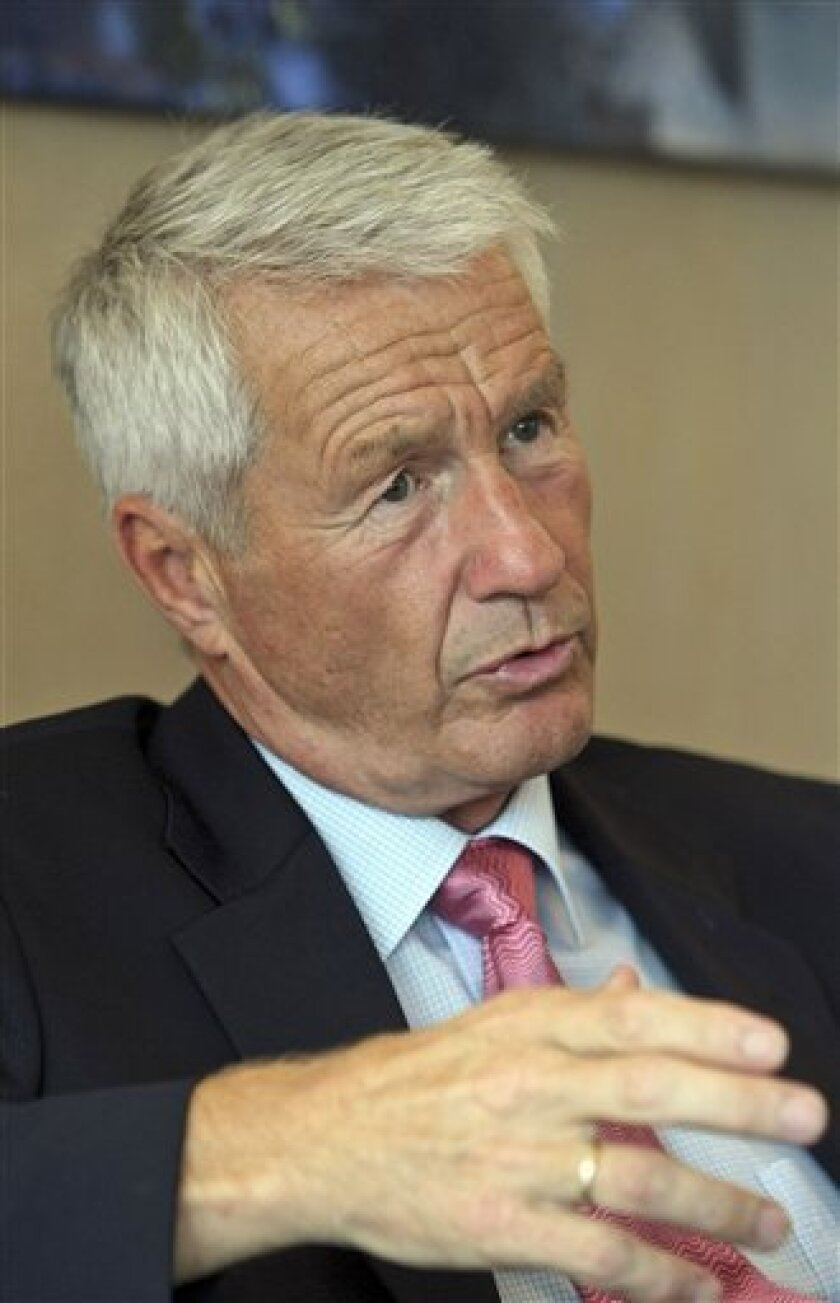 Thorbjoern Jagland, General Secretary of the Council of Europe and Norwegian chairman of the Nobel Peace Prize award committee gestures during an interview with the Associated Press at his office at the Council of Europe in Strasbourg, eastern France, Wednesday, Oct. 5, 2011. Jagland says his panel has already decided on its laureate for this year and he is confident that the selection will be well-received. (AP Photo/Christian Lutz)