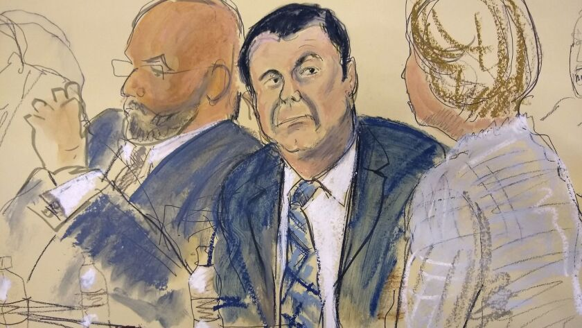 "In this courtroom sketch Joaquin ""El Chapo"" Guzman, center, sits next to his defense attorney Eduard"