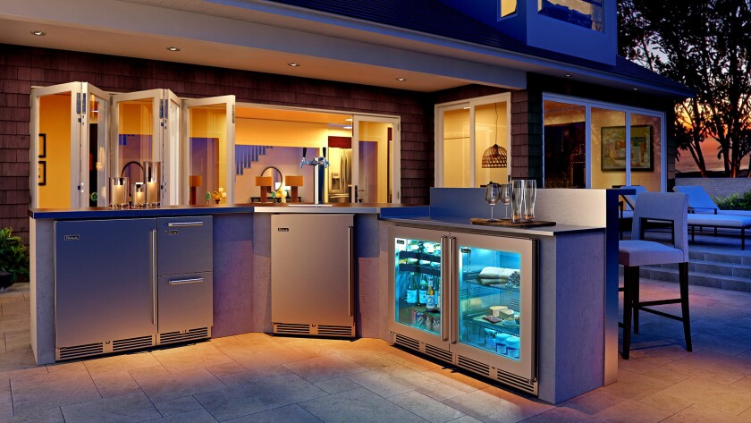 Under-the-counter refrigeration suite with ice maker by Perlick. Available at Outdoor Elegance.