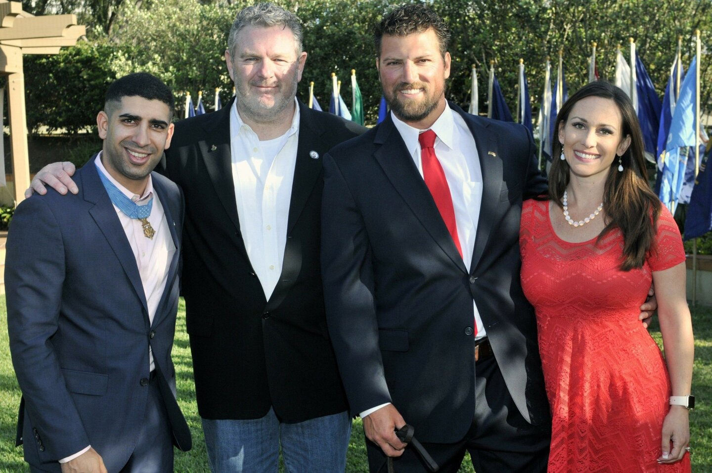 Medal of Honor recipient Capt. Florent Groberg U.S. Army retired, Veterans 360 CEO Rick Collins, Ranger Capt. Ben Brown U.S. Army retired, gala Chair Chondra Brown