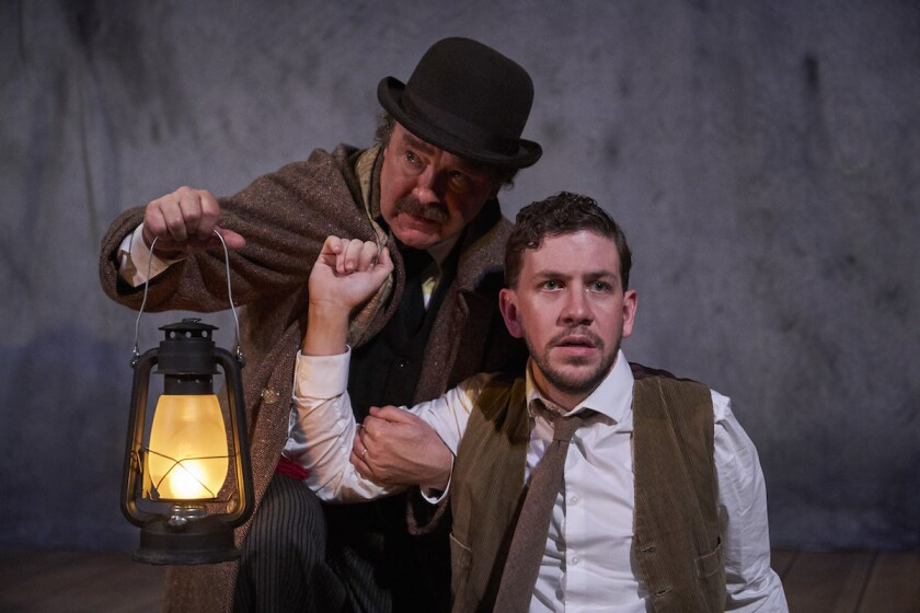 "Bradley Armacost and Adam Wesley Brown in ""The Woman in Black,"" now playing at the Pasadena Playhouse."