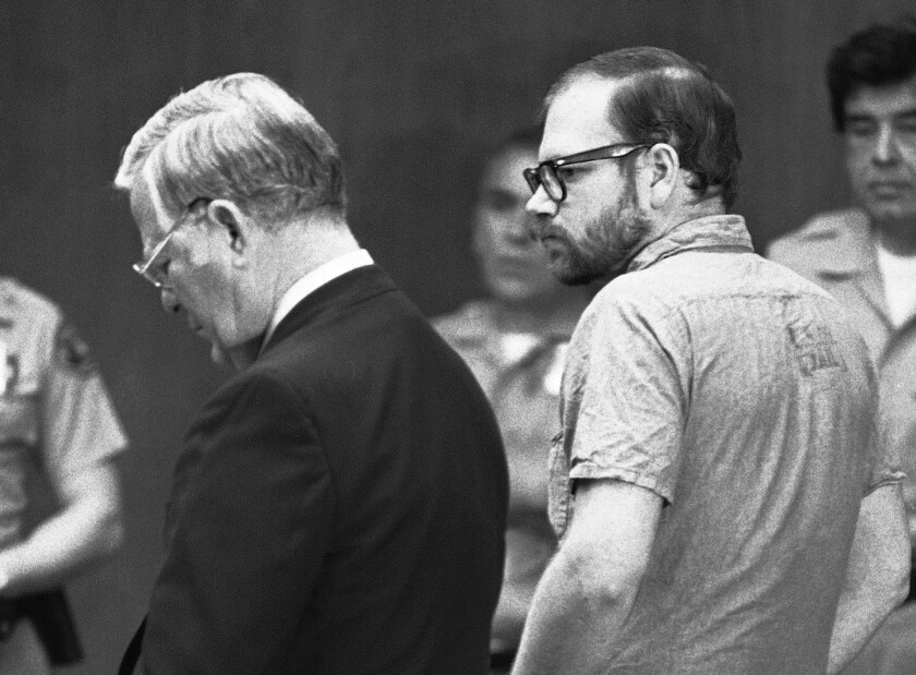 Roy Lewis Norris listens as charges are read against him in court in March 1980 in the rape-torture deaths of five teenage girls. Norris pleaded guilty to five counts of murder in a deal to avoid the death penalty.