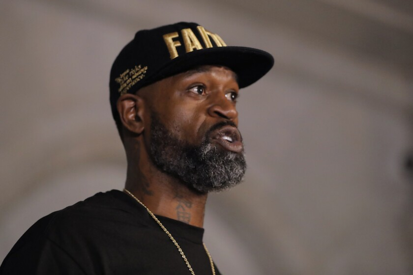 Stephen Jackson, a friend of George Floyd, speaks during a news conference June 2 in Minneapolis following Floyd's death.