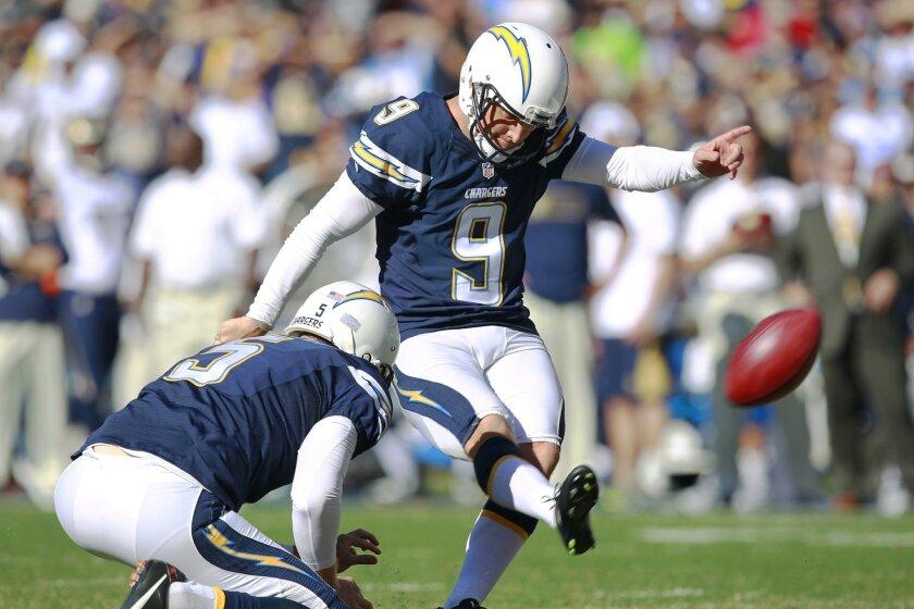 Chargers Nick Novak kicks a field goal against the Rams.