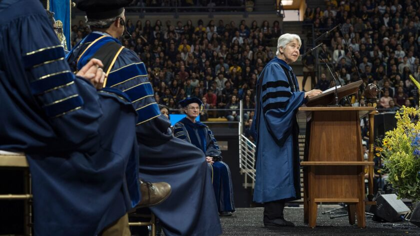 UC Berkeley Chancellor Carol Christ speaks during the convocation on a busy day of orientation for t