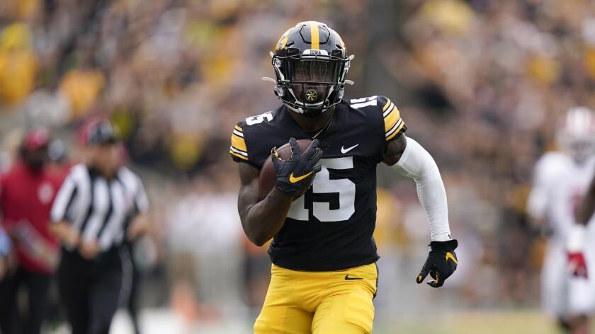 Iowa running back Tyler Goodson runs for a 56-yard touchdown against Indiana