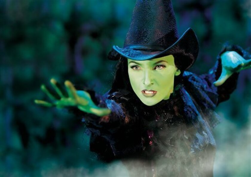"This undated image released by Brinkoff-Mogenburg shows Willemijn Verkaik as Elphaba during a performance of ""Wicked.""  Verkaik, a Dutch actress who has played the role of Elphaba in versions of ""Wicked"" in Germany and Holland, last month made her debut on Broadway for a 15-week stint as the green-"