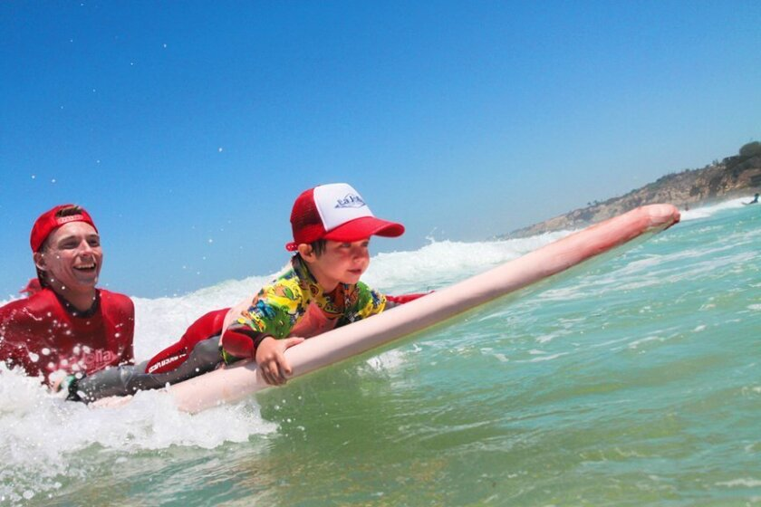 Surf Diva instructors work with small groups of students in the water at La Jolla beaches.