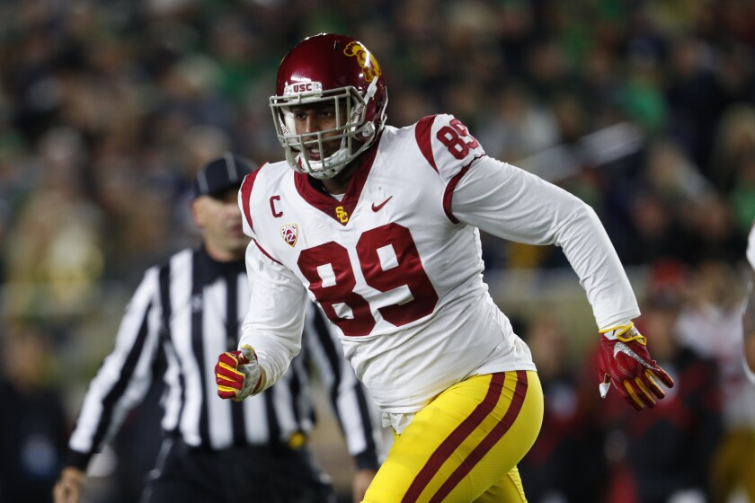 USC defensive lineman Christian Rector plays against Notre Dame in South Bend, Ind.