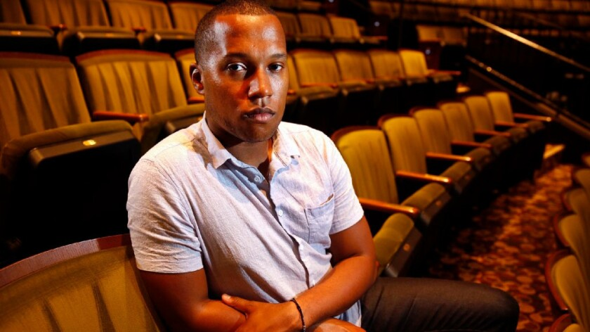 Branden Jacobs-Jenkins pictured at The Mark Taper Forum in Los Angeles on September 11, 2015.