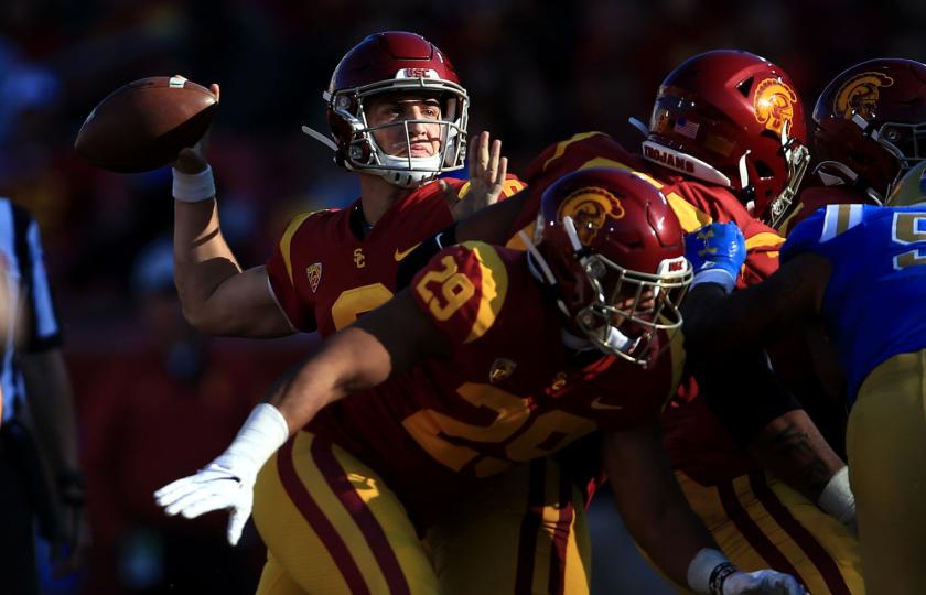 USC quarterback Kedon Slovis looks to pass against UCLA in November 2019.
