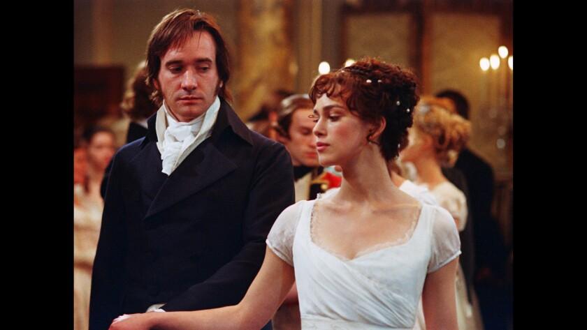 "Matthew Macfadyen as Mr. Darcy and Keira Knightley as Elizabeth Bennet in 2005's ""Pride & Prejudice."""