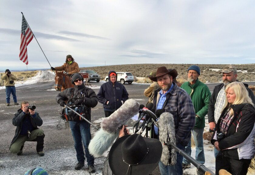 Ammon Bundy speaks to reporters at the Malheur National Wildlife Refuge in Burns, Ore. on Jan. 14. Bundy is the leader of a small, armed group that has been occupying the remote refuge since Jan. 2 to protest federal land policies.