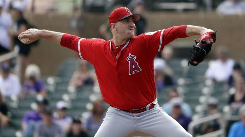 Angels starting pitcher Matt Harvey didn't survive the second inning.