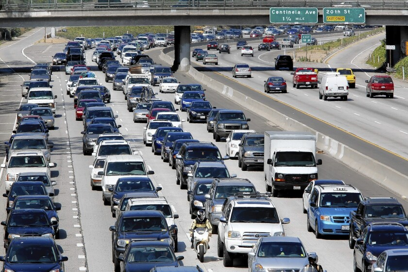 Motorists sit in traffic on the westbound 10 freeway in Santa Monica.