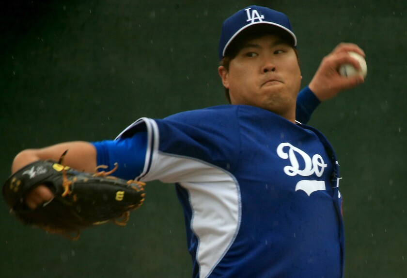Dodgers starter Hyun-Jin Ryu pitches at spring training in Glendale, Ariz., on March 2.