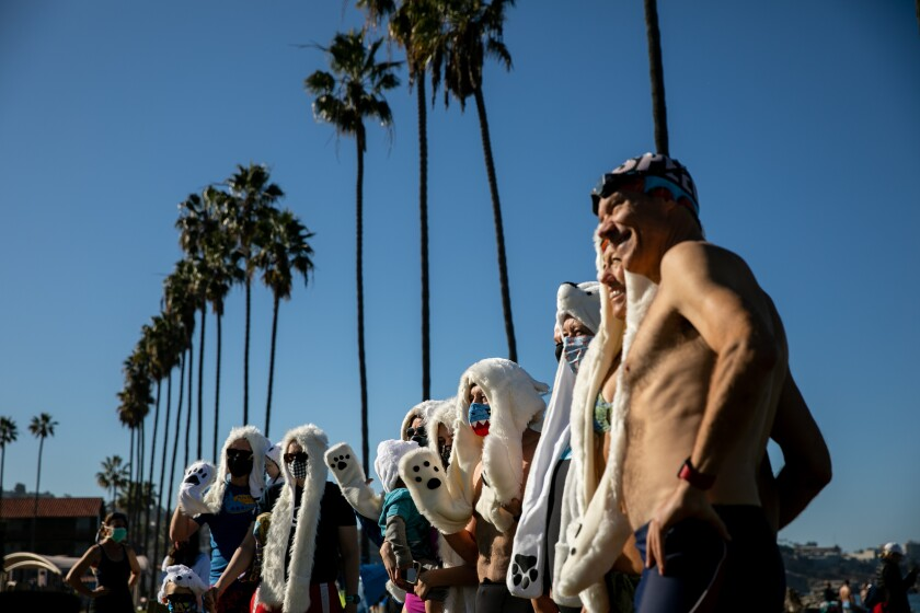 A group dressed as polar bears takes part in the unofficial Polar Bear Plunge at La Jolla Shores on New Year's Day.