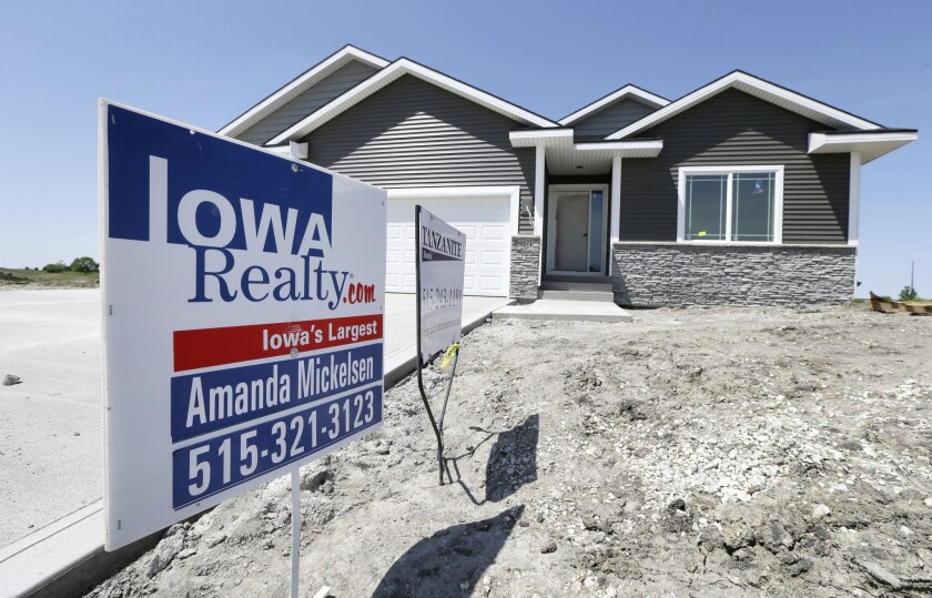 A new home for sale in West Des Moines, Iowa, on May 21.