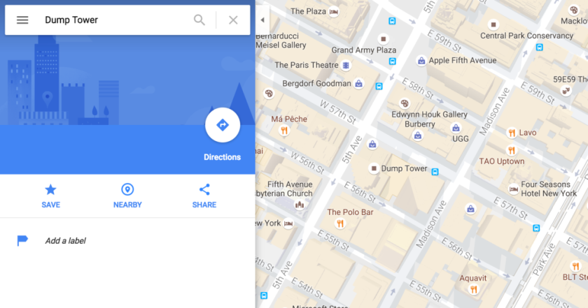 Trump Tower in Manhattan becomes \'Dump Tower\' on Google Maps ...