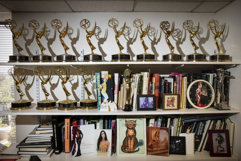 LOS ANGELES, CA--MAY 17, 2019--A collection of Emmy's, with nine of his own and a few earned by his