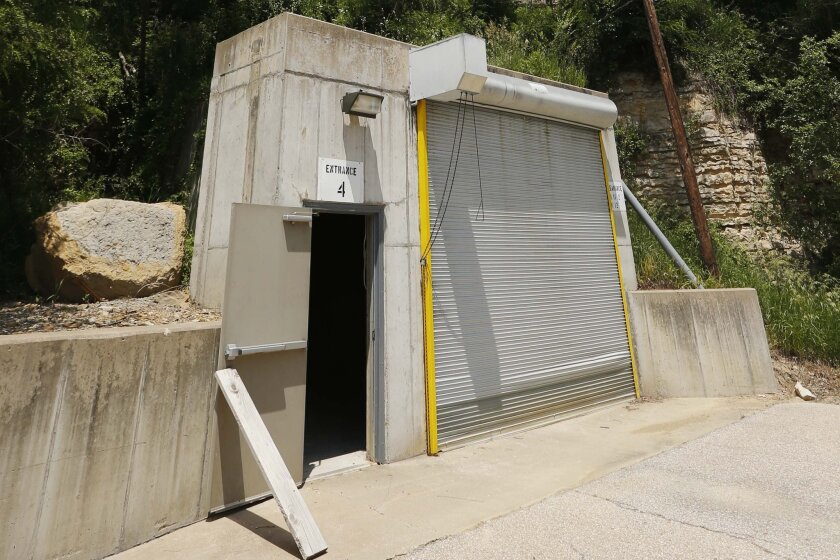 A door stands open at an entrance to the Vivos Shelter and Resort during a tour of the facility in Atchison, Kan., Tuesday, June 18, 2013.