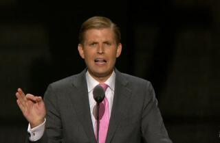 Eric Trump, executive vice president of The Trump Organization, speaks at the Republican National Convention