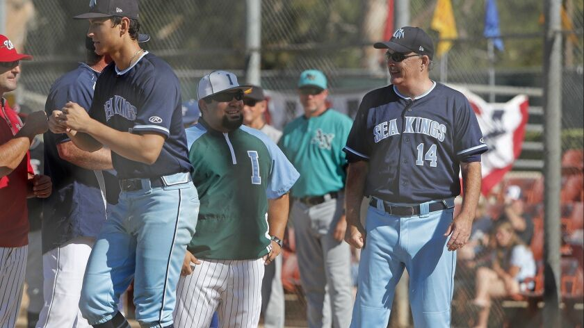Corona del Mar High coach John Emme (14) represents the Pacific Coast League during the Ryan Lemmon