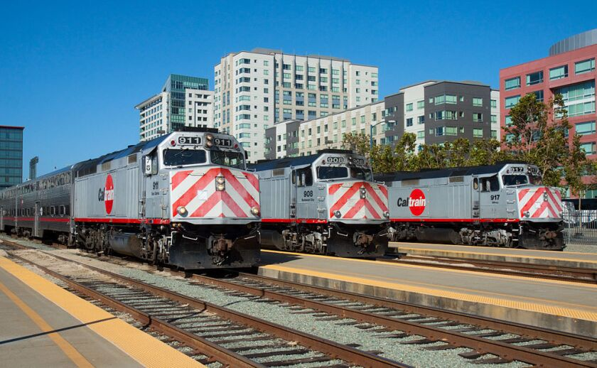 Three of Caltrain's diesel locomotives that would be replaced by electric locomotives.