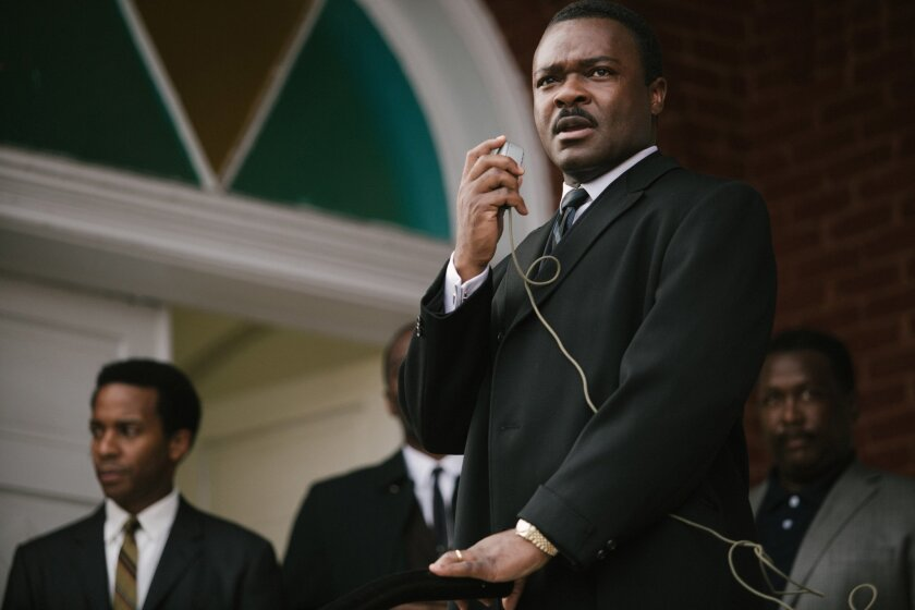 "In this image released by Paramount Pictures, David Oyelowo portrays Dr. Martin Luther King, Jr. in a scene from ""Selma,"" a film based on the slain civil rights leader. The 50th anniversary of the historic civil rights marches in Selma and the hit movie that tells the story are expected to bring th"