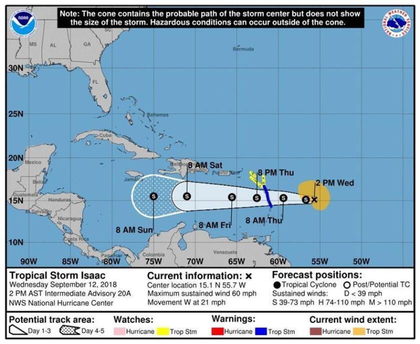 Imagen cedida por el Centro Nacional de Huracanes (NHC) que muestra el pronóstico de cinco días de la tormenta tropical Isaac, que llegó a ser un huracán de categoría 1 antes de degradarse, y avanza rápidamente hacia el Caribe y las Antillas Menores informó el Centro Nacional de Huracanes (NHC). EFE/NHC/SOLO USO EDITORIAL/NO VENTAS