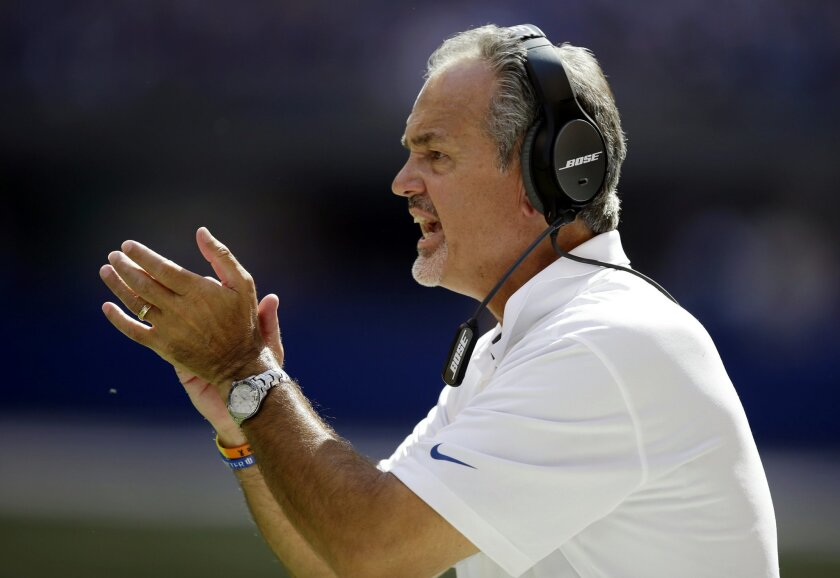 Indianapolis Colts coach Chuck Pagano yells to his team during the first half of an NFL football game against the Tennessee Titans in Indianapolis, Sunday, Sept. 28, 2014. (AP Photo/Darron Cummings)