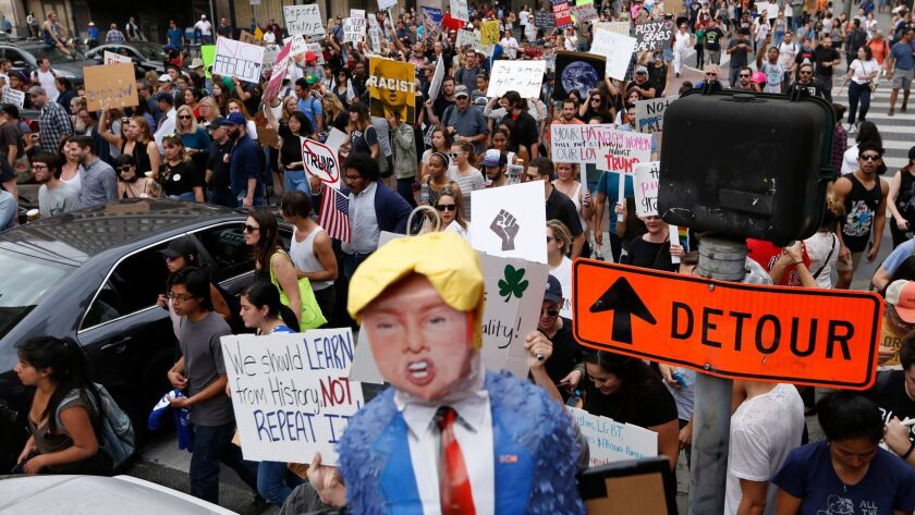 Demonstrators protest the election of Donald Trump in Los Angeles on Nov. 12.