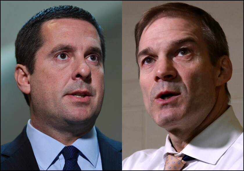Rep. Devin Nunes (R-Tulare), left, and Rep. Jim Jordan (R-Ohio).