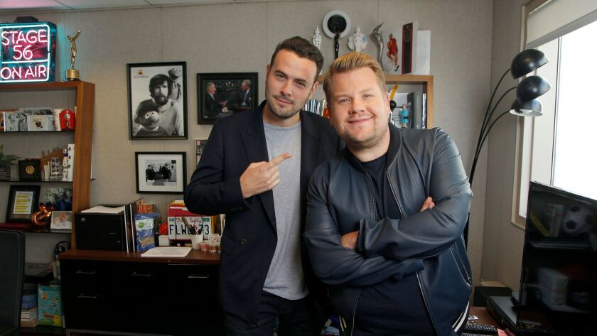 "James Corden, right,and Ben Winston, the creators and executive producers of ""Carpool Karaoke: The Series,"" Apple Music's spin-off of the viral sketch bit from CBS' ""The Late Late Show With James Corden."""