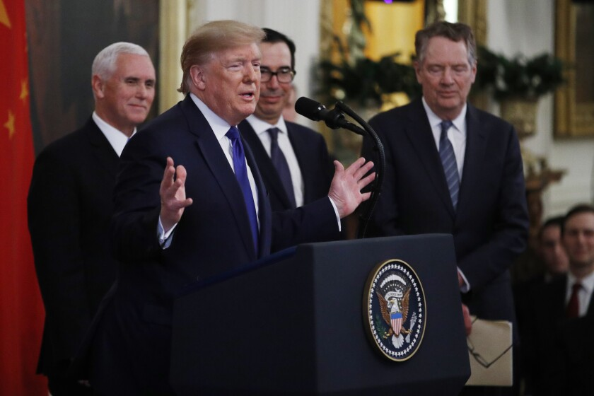Trump turns trade deal signing into hour-plus monologue