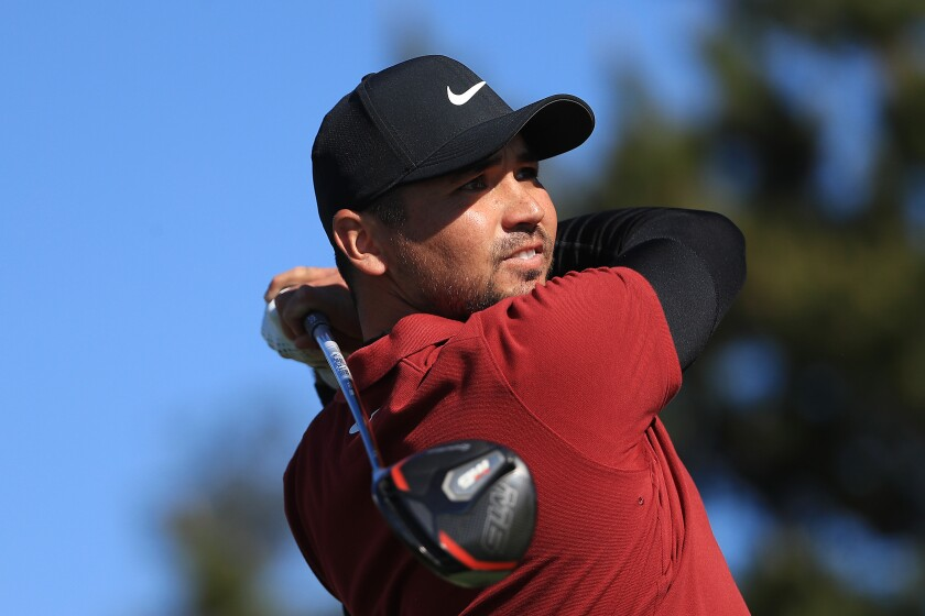 Jason Day plays his shot from the ninth tee during the second round of the Pebble Beach Pro-Am on Feb. 7, 2020.
