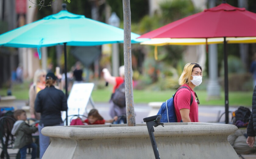 Balboa Park wasn't as busy as it normally is on a Saturday, and some visitors sported unusual facial accessories.