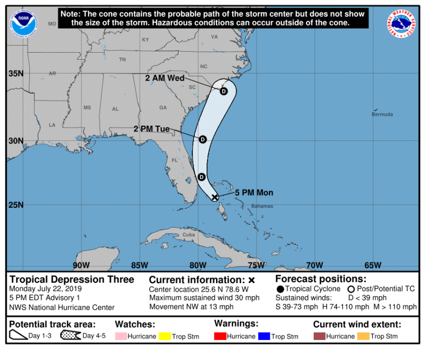 Tropical Depression Three forms