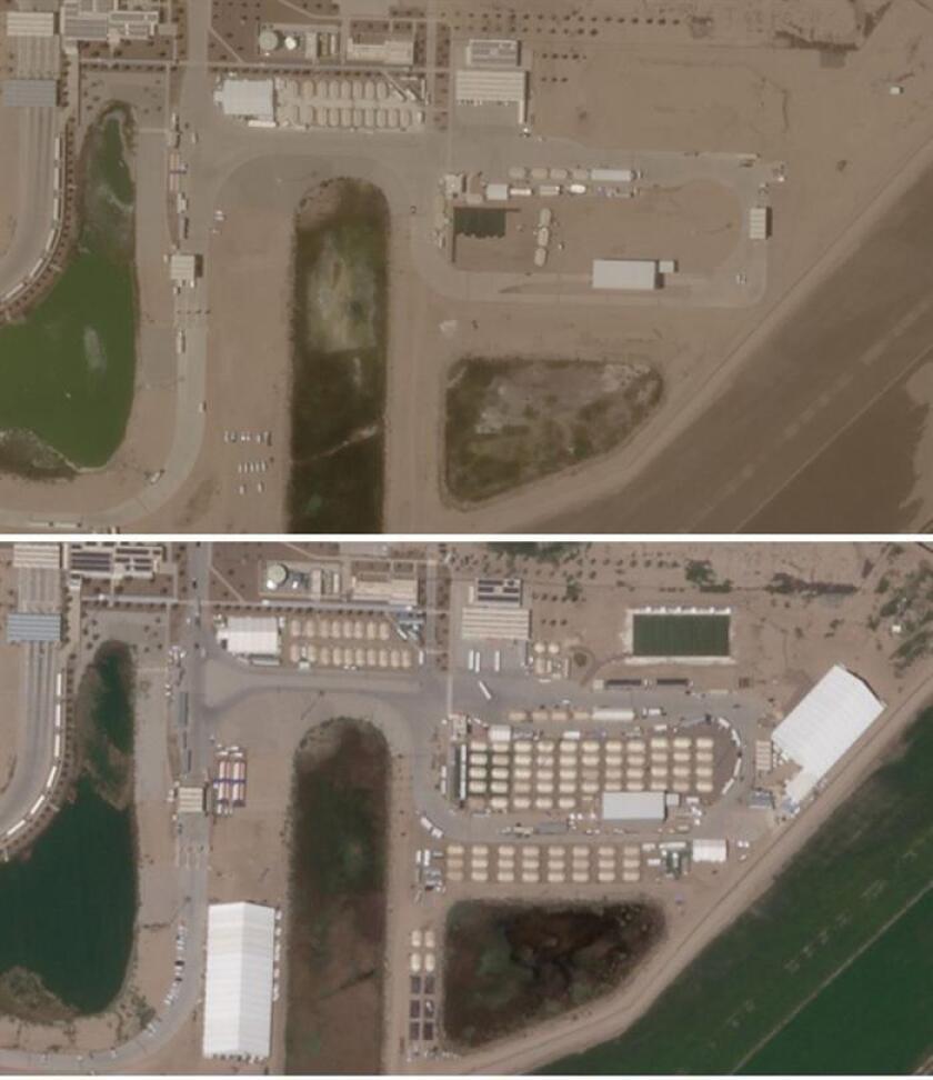 Combo de dos fotografías satelitales hoy, miércoles 3 de octubre de 2018, por Human Rights Watch (HRW), donde se aprecia una evolución desde el 19 junio de 2018 (arriba) al 13 septiembre de 2018 (abajo) del centro de detención de menores en Tornillo, Texas (EE.UU.). EFE/Human Rights Watch/SOLO USO EDITORIAL/NO VENTAS/MÁXIMA CALIDAD DISPONIBLE