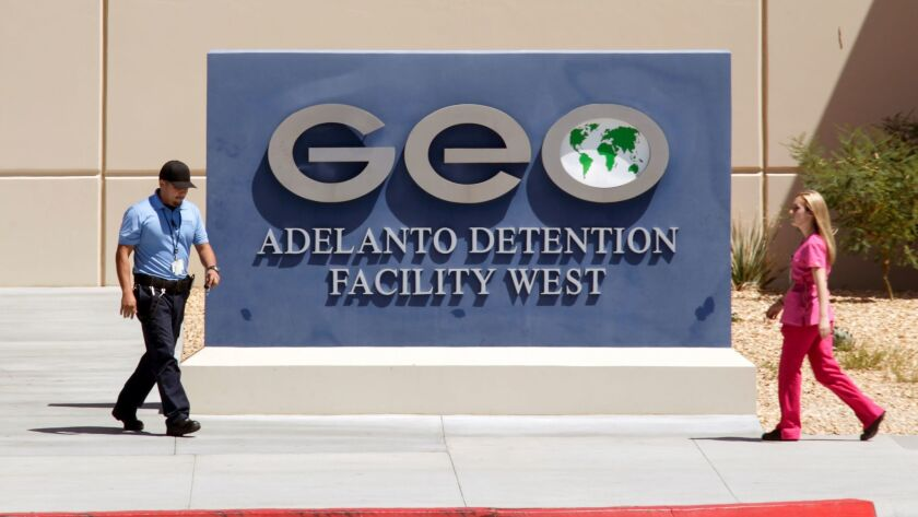Geo Group's Adelanto Detention Facility, where detainees have complained of mistreatment.