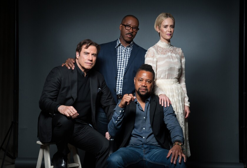 """""""The People v. O.J. Simpson"""" cast members, clockwise from left, John Travolta, Courtney B. Vance, Sarah Paulson and Cuba Gooding Jr. gather for a conversation."""