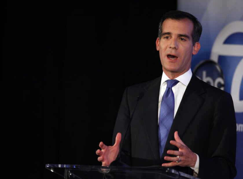 Candidate for Los Angeles mayor Eric Garcetti participates in a mayoral debate at Cal State Los Angeles' Pat Brown Institute of Public Affairs. The debate was moderated by ABC7's Marc Brown.