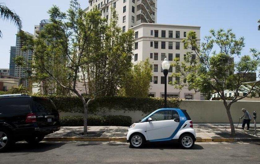 A Car2Go driven on San Diego streets.