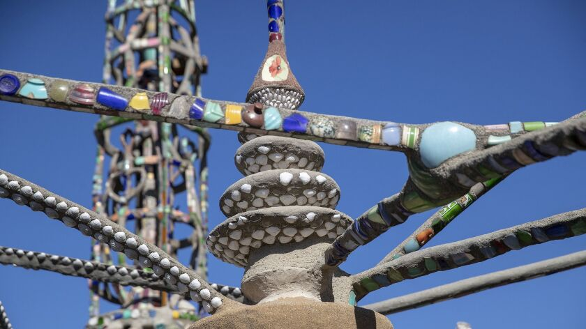 WATTS, CALIF. -- WEDNESDAY, NOVEMBER 14, 2018: A view of shells imbedded in the Watts Towers by Saba