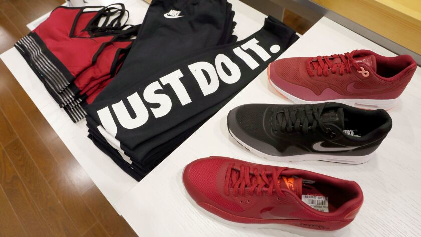 FILE - In this Thursday, Aug. 25, 2016, file photo, Nike products appear on display at the SIX:02 sh