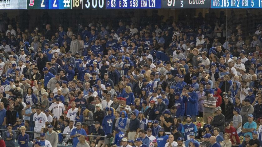 LOS ANGELES, CALIF. -- SATURDAY, OCTOBER 27, 2018: Dodgers fans rally into the bottom of the 18th in