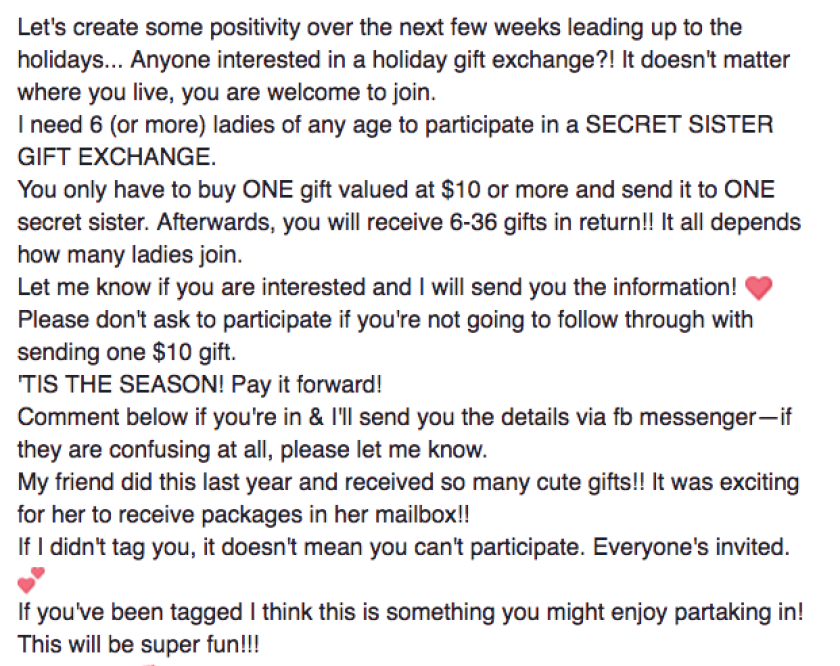 """A version of the """"secret sister gift exchange"""" post making the rounds on Facebook."""